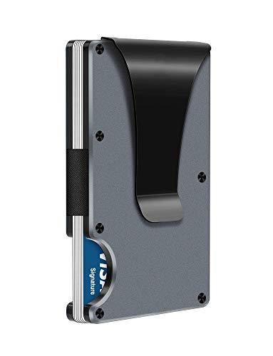 Slim Wallets Carbon Fiber for Men - RFID Blocking Minimalist Aluminum Metal Money Clip Credit Card Holder Wallet (Platinum)