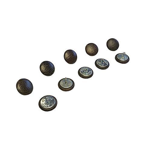 10 x 20 mm Doré Cuir Chesterfield Boutons Dos avec fil pour traditionnel Deep Button Chesterfield Tissu d'ameublement, canapés, chaises, tabourets faite à la main en Angleterre – Finition antique
