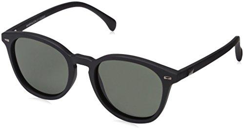 Le Specs Bandwagon Black Rubber Khaki Mono - Sonnebrille Herren und Frauen - Gestell Schwarz Matt Glas Grün - Retro From Rund - 1502053