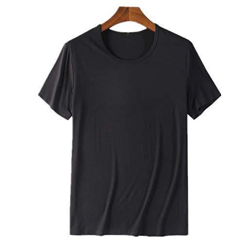 N\P Cómodo cuello redondo de fibra de bambú viscosa camiseta de manga corta para hombre verano Negro XL