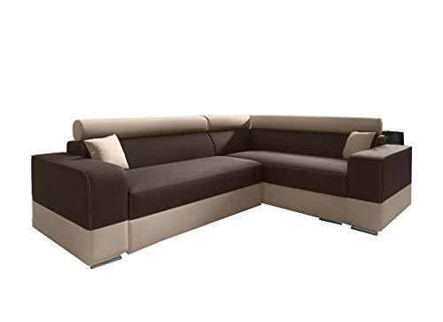 Canapé d'angle Convertibles Tissu et Simili Cuir Georg Mini (Marron + Beige (Tissu), Canapé d'angle Droit)