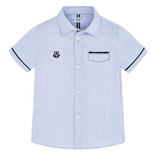 Mayoral Jungen Hemd Kurzarm festlich Slim fit Sommerhemd, Größe:128, Farbe:hellblau