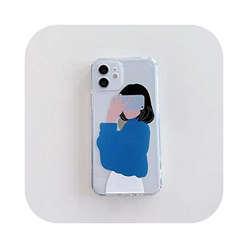 Carcasa para iPhone 12, diseño de niña para iPhone 11 XR XS Max 12 Mini Pro Max 7 8 Plus x carcasa de silicona flexible shell-2-for iPhone XS Max