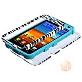 MYBAT Zebra Skin/Tropical Teal TUFF Hybrid Phone Protector Cover compatible with Samsung D710//Galaxy S II 4G/R760)