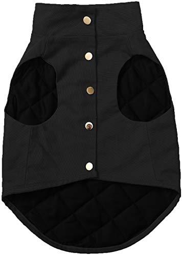 Ctomche Abrigo para perro reflectante para el clima frío, abrigo de invierno para perro, chaleco deportivo, chaleco de nieve con 5 broches de metal y dos bolsillos reforzados con remaches, negro-XXL