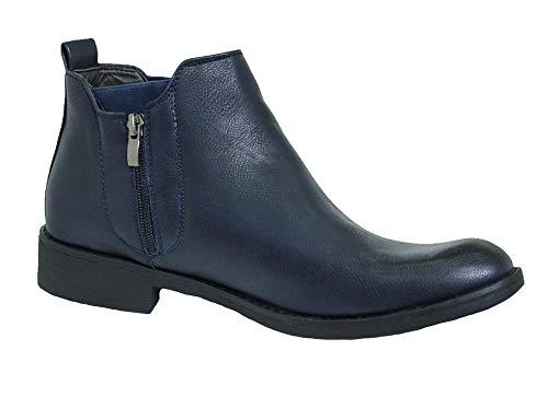 Evoga Scarpe stivaletti uomo Class calzature polacchine in ecopelle (43, Blu Scuro)