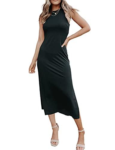 AILUNSNIKA Womens Casual Dresses Summer Sleeveless Midi Dress Sexy Side Slit Long...