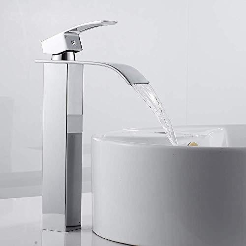 YXZQ Wasserfall Badezimmer Arbeitsplatte Wasserhähne Badewanne Mischbatterie Chrom Quadrat Mono Messing Wasserhahn