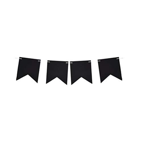 ABOOFAN DIY Pizarra de papel Banner colgante Bunting Banner forma cola de milano escritura tirón bandera para fiesta Festival decoración (negro)