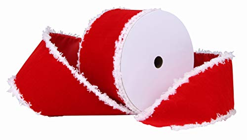 "10 Yards Christmas Velet Ribbon,2.5"" Wide Wired Ribbon with Snowflake Edge for Christmas Crafts Decoration,Wrapping Craft (Red and White)"