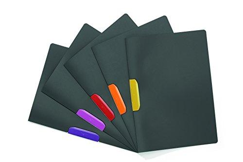 Preisvergleich Produktbild Durable 230400 Klemm-Mappe Duraswing Color (für 30 Blatt DIN A4) Beutel 5 Stück anthrazit mit farbiger Klemme