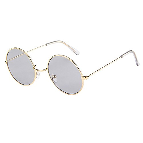 Lazzboy Frauen Männer Vintage Retro Brille Unisex Fashion Circle Frame Sonnenbrille Eyewear Klassische Lennon Runde Polarisierte Mit Schutz Paar Hippie Stil Kreis Farbige Gläser(B)