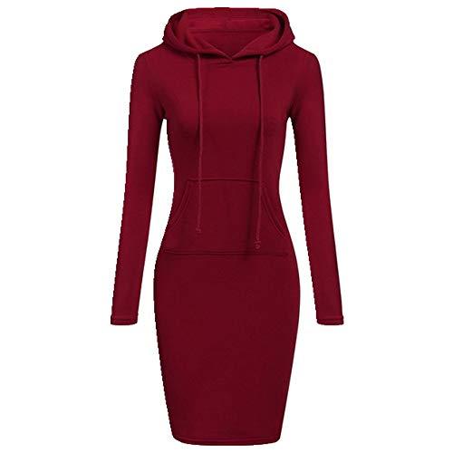 U/A Kapuzen-Kordelzug mit langen Ärmeln, Fleece-Kleider, Winterkleid, Hoodies, Sweatshirts Gr. L, rot