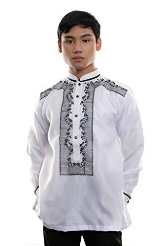 Organza Barong Tagalog with Lining White 001 - Traditional Filipino Clothing Philippine Culture Dress Shirt (Small)