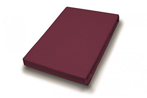 Hahn huistextiel jersey-hoeslaken Basic 90-100 x 200 cm bordeaux