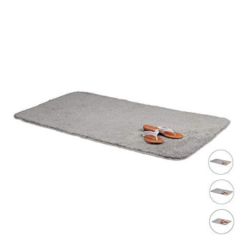 Relaxdays Badmat, pluizige badmat, antislip & wasbaar, zachte douchemat, badmat, grijs