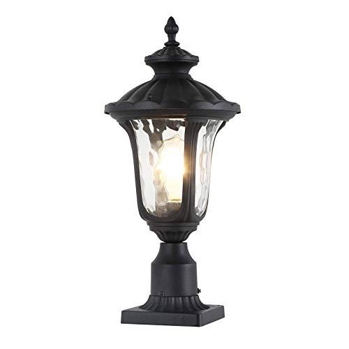 AOIWE Outdoor Pillar Lights, Outdoor Post Light with Pier Mount Adapter, Vintage Post Lamp with Hammer Glass Shade,Aluminum Housing Rustproof for Front Door, Garden, Back Yard (Size : Medium)