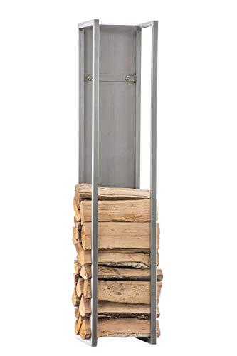 CLP Kaminholzregal Spark I Brennholzregal aus Edelstahl I Holzbutler in verschiedenen Größen und Farben erhältlich, Farbe:Edelstahl, Größe:100 cm