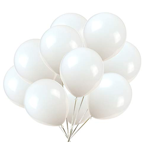 Party Balloons; 12-inch Latex Balloons 50 pcs, Wedding, Birthday Party, Baby Shower, Christmas Party Decorations (White)