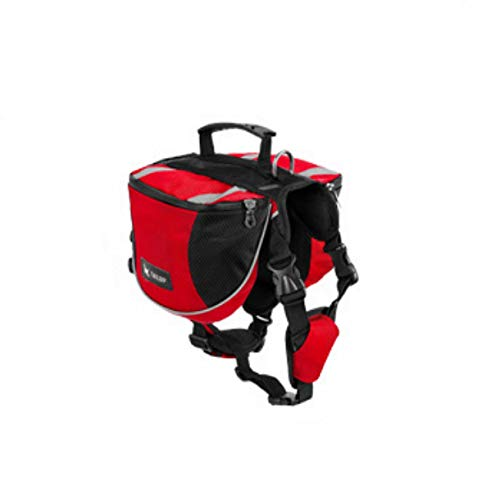 Mochila para perros ajustable, mochila para perros de gran capacidad con tira reflectante, se puede conectar a la cuerda de tracción, al aire libre