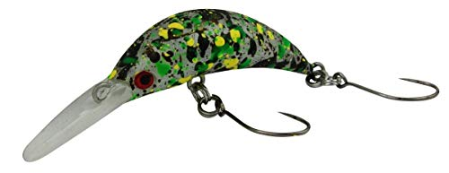 Fishing Tackle Max Unisex– Erwachsene 10C5200341C10 FTM Mega Masu MR Wobbler 3,5cm 35mm 2,5g UV Camou Grün 5200341 Ultra Light Fischen Forellenangeln Barschangeln, Bunt, Normal