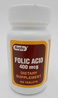 RUGBY FOLIC Acid 400 MCG 100CT Pack of 1
