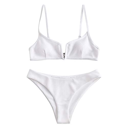 ZAFUL Vrouwen V-bekabelde gewatteerde geribde High Cut Cami Bikini Set Tweedelig badpak