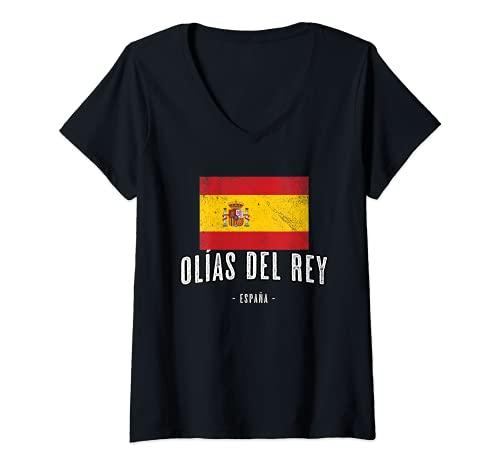 Mujer Olías del Rey España | Souvenir - Ciudad - Bandera - Camiseta Cuello V