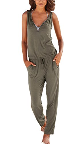 HX fashion Tute Donna Eleganti Estivi Lunghi Tutine Intere Senza Maniche V Scollo Jumpsuit Puro Colore Allentato Tuta con Cerniera Tasca Casuale Pagliaccetto Playsuit