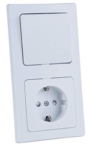 Delphi Steckdose mit Lichtschalter im Doppelrahmen 230V 2-Fach Kombination Schutzkontakt-Steckdose mit Wechsel-Schalter Klemm Anschluss Matt Weiß