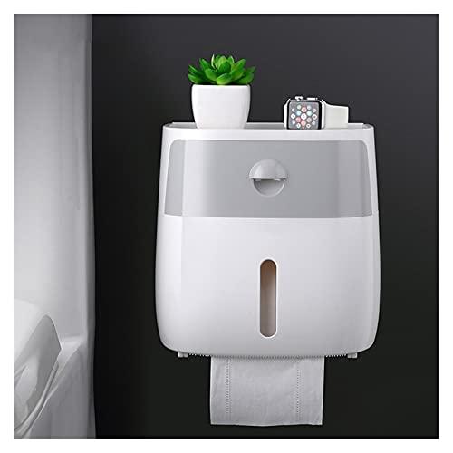 Portarrollos Papel Higiénico Tenedor de papel de papel Toalla de papel Soporte de toalla de pared Montado en pared Rollo de papel Papel Estuche for papel higiénico Accesorios de baño ( Color : Grey )