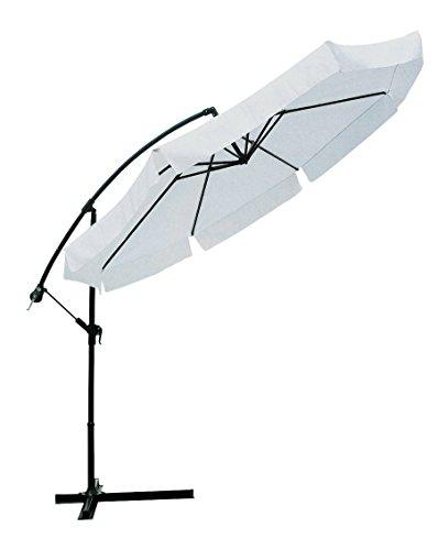 Ombrellone ø 3 mt x 3h mt braccio laterale Struttura in acciaio Inclinabile in diverse posizioni. Con manovella Copertura in poliestere 160 gr/m² colore bianco