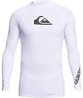 Quiksilver Men's All TIME LS Long Sleeve Rashguard SURF Shirt, White, L