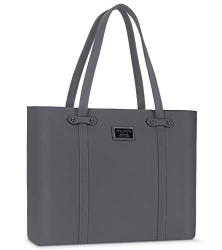 Mosiso laptoptas voor dames, premium PU-leer, grote capaciteit, voor op het werk, op reis, computer en aktetas, handtas met dik schokbestendig vak en duurzaam handvat Space grijs