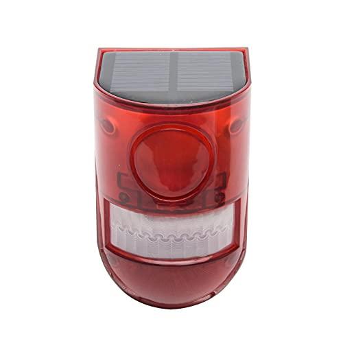 DSFSAEG Luz de sonido solar, sensor de movimiento de alarma de 110 decibelios, alerta de sonido de sirena, 6 ledes, sistema de alarma de seguridad estroboscópica para granja Villa