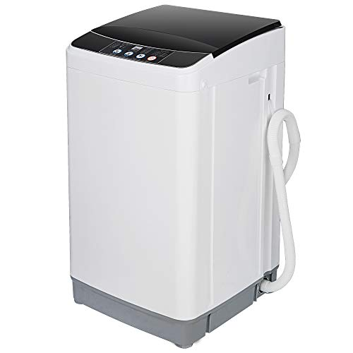 ZENY Portable Full-Automatic Washing Machine Compact Laundry Washer Spinner Machine with Drain Pipe 10 Programs 8 Water Levels 8lbs Capacity for Apartment, RV,Camping