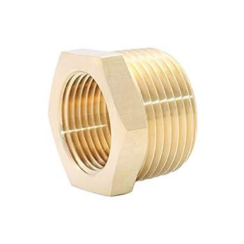 H.ALFITS Brass Hex Bushing Adapter 1  Male x 3/4  Female NPT Threaded Fitting