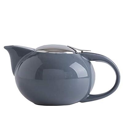 SANHECUN Ceramic infusion teapot with stainless infuser teapot Tea Gift (1, Grey)