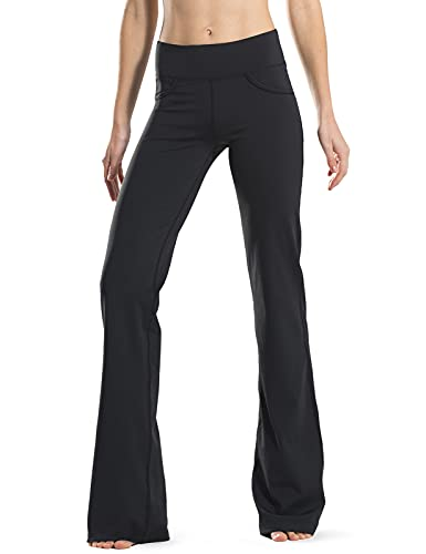 "Safort 28"" 30"" 32"" 34"" Inseam Regular Tall Bootcut Yoga Pants, 4 Pockets, UPF50+, Black, L"