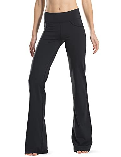 Safort 28' 30' 32' 34' Inseam Regular Tall Bootcut Yoga Pants, 4 Pockets, UPF50+, Black, M