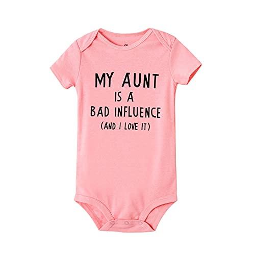 FURONGWANG6777BB My Aunt - Mono de manga corta para bebé recién nacido y niña con estampado de letras para bebés de 0 a 24 m (color: SB61 SRPPK, tamaño de niño: 6 m)