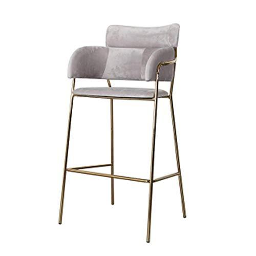 Barkruk barstoel modern Simplicity eetkamerstoel Nordic velvet hoge kruk met gouden metalen poten verschillende kleuren naar keuze grijs