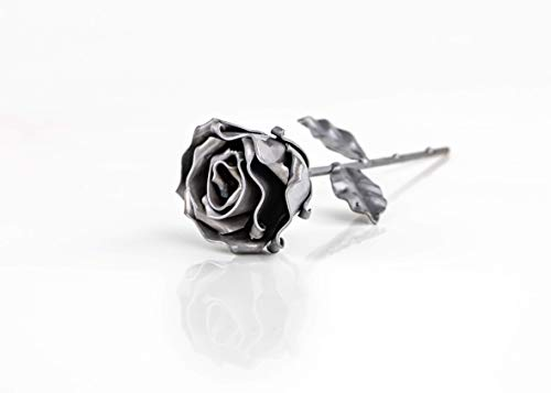 Rosa Eterna de Hierro Forjado Plateada - Forjada a Mano