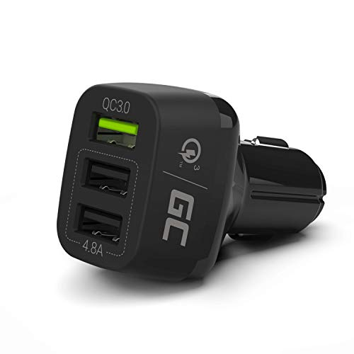 Green Cell® Premium 42W 3-Port USB Auto-Ladegerät, Quick Charge 3.0 für iPhone X 8 7 6S 6 Plus, iPad, Galaxy S8 S7 Edge Note, Google Nexus, LG, HTC, Huawei und andere iOS Android Geräte
