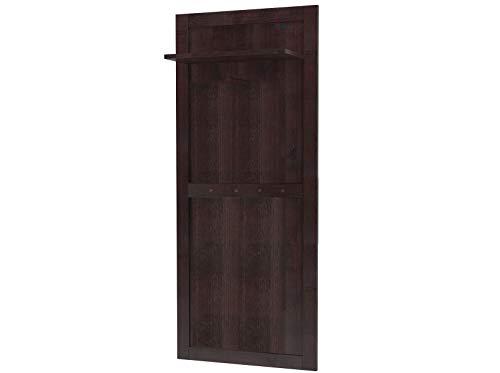 Loft24 Wandgarderobe Landhaus Garderobenpaneel Flurgarderobe Garderobenleiste Garderobe Flur Kiefer Holz massiv Dunkelbraun 4 Haken 1 Kleiderstange 60x140 cm