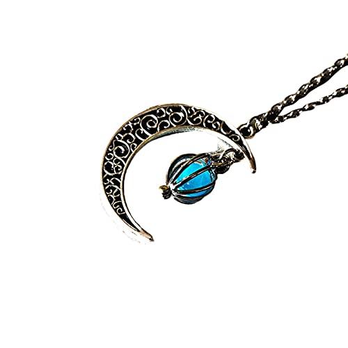 laoonl Collier creux en forme de lune - Pendentif fantôme d'Halloween - Collier cage à oiseaux - Collier avec perles lumineuses - Collier court pour homme et femme