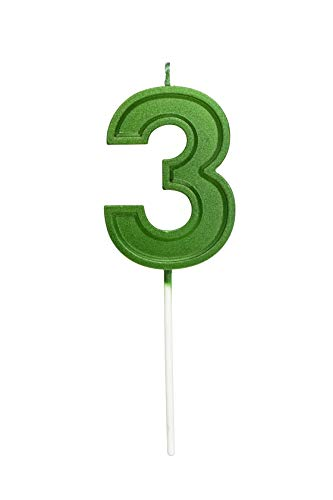 2.76 Inches Large Number Candles Birthday Candles Cake Numeral Candles Topper Decoration for Birthday Celebration Reunions Anniversary Party Supplies (Green Number 3)
