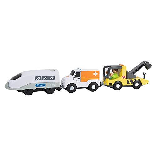 Uposao Locomotora eléctrica para niños, tren de madera, juguete de alta velocidad,...