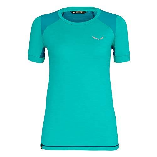 Salewa Pedroc Hybrid Dry T-Shirt Femme, Lagoon Green Melange Modèle IT 48 | DE 42 2019 T-Shirt Manches Courtes