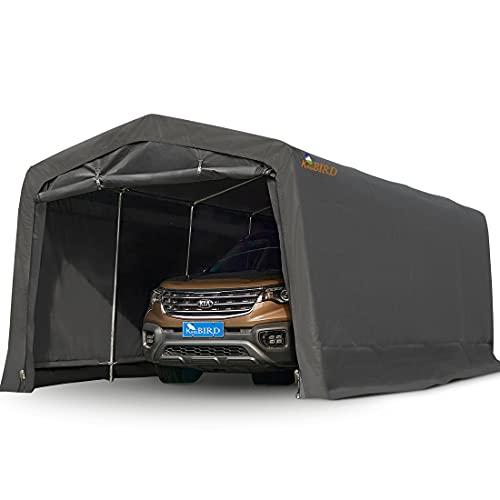 KING BIRD 10' x 20' Heavy Duty Anti-Snow Carport, Peak Style Roof Instant Garage Car Canopy with Reinforced Ground Bars